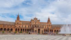 Hyperlapse Plaza España. Square Sevilla. Stock Footage