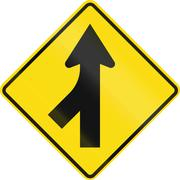 New Zealand road sign PW-4 - Merging traffic from left Stock Illustration