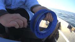 Winding In Fishing Hand Reel Stock Footage