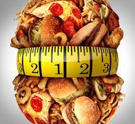 Obesity Waistline Diet - stock illustration