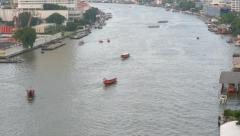 Boats On The Busy Chaophraya River In Bangkok Stock Footage