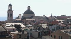View of some roofs of the city of Chiavari Stock Footage