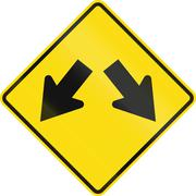 New Zealand road sign - Lane diverges Stock Illustration
