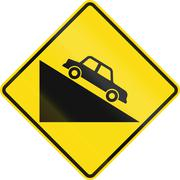 New Zealand road sign PW-27 - Steep downward grade - stock illustration