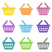 Colorful vector shopping basket icons Stock Illustration