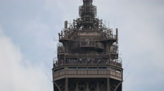 View of the third level observatory's upper platform of the Eiffel Tower, Paris - stock footage
