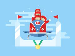 Bobsleigh winter sport - stock illustration