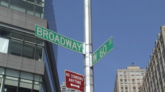 New York street sign at Broadway street - stock footage