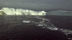 Icebergs and water at Disko Bay Illusat Stock Footage