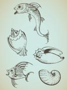 Vintage sea elements Stock Illustration