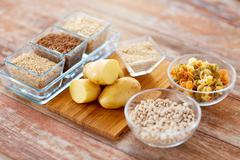close up of carbohydrate food - stock photo