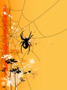 Halloween background with spider - stock illustration