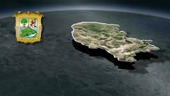 Coahuila with Coat of arms animation map - stock footage