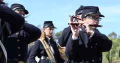 Blue & Grey Civil War Re-enactment Military Band Stock Footage