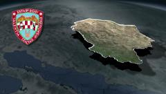Stock Video Footage of Chihuahua with Coat of arms animation map
