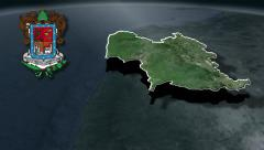Michoacan with Coat of arms animation map - stock footage