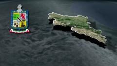 Nuevo Leon with Coat of arms animation map - stock footage