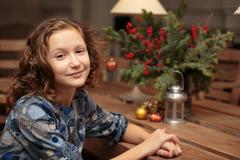 curly little girl - stock photo