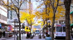 Stock Video Footage of  Lunch hour on 16th Street Mall in late Autumn.
