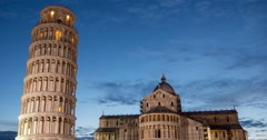 Evening time lapse of The Leaning Tower and the Cathedral of Pisa Stock Footage