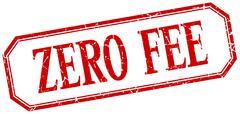 zero fee square red grunge vintage isolated label - stock illustration