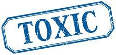 Stock Illustration of toxic square blue grunge vintage isolated label