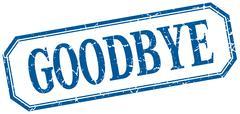 goodbye square blue grunge vintage isolated label - stock illustration