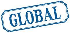 Global square blue grunge vintage isolated label Stock Illustration