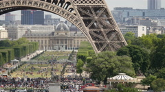 Tourists gathered in Champ de Mars, Paris Stock Footage