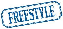 freestyle square blue grunge vintage isolated label - stock illustration