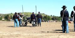 Blue & Grey Civil War Re-enactment Field of Battle Pan Stock Footage