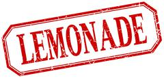 lemonade square red grunge vintage isolated label - stock illustration