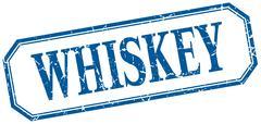 whiskey square blue grunge vintage isolated label - stock illustration