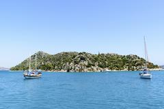 Kemer, Turkey - 06.20.2015.  yacht near the coast of Turkey - stock photo