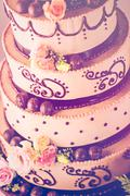 Gourmet tiered wedding cake Stock Photos
