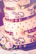 Gourmet tiered wedding cake - stock photo