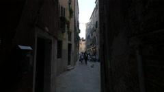 Restaurant on a narrow street in Venice Stock Footage