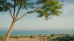 Sea of Galilee panoramic view 1 - stock footage