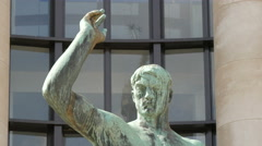 Hercules statue next to National Navy Museum in Paris Stock Footage