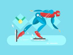 Ice speed skater cartoon character - stock illustration