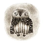 Little Owl Sitting In a Hollow - stock illustration