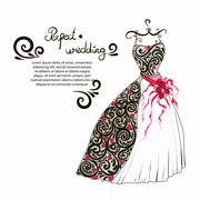 Wedding dress illustration to decorate your perfect wedding Stock Illustration