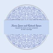 Wedding invitation decorated with round ornament Stock Illustration
