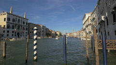 Mooring poles in Grand Canal, Venice Stock Footage