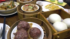 dim sum,canton cuisine,beef ball and bread - stock footage