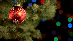 Decorated branch of a christmas tree - stock photo