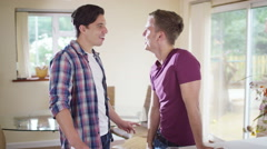 4K Portrait of affectionate young gay couple relaxing together at home - stock footage