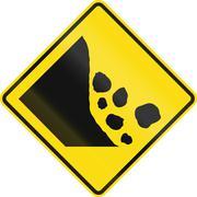 New Zealand road sign - Falling rocks or debris on left - stock illustration