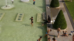 Kids playing in Fountain of Warsaw near the Eifel Tower, Paris - stock footage