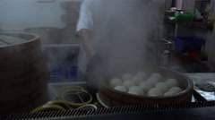 Steam white bread,china cuisine Stock Footage